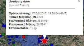 Νέος σεισμός 5,2 Ρίχτερ νότια της Μυτιλήνης